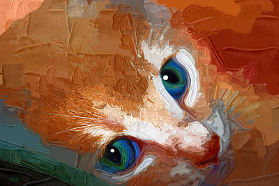 Kittens Digital Art - Gussy by Holly Ethan