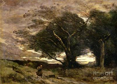 Wet Painting - Gust Of Wind by Jean Baptiste Camille Corot