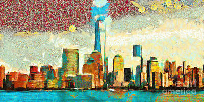 Photograph - Gustav Klimt Does One World Trade Center Lower Manhatten New York Skyline 20180511 Panorama by Wingsdomain Art and Photography