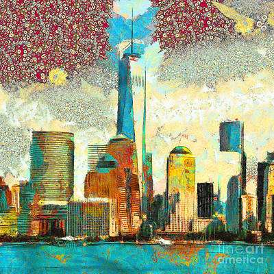 Photograph - Gustav Klimt Does One World Trade Center Lower Manhatten New York Skyline 20180511 Square by Wingsdomain Art and Photography