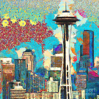 Photograph - Gustav Klimt Does The Seattle Space Needle Skyline 20180511 Square by Wingsdomain Art and Photography