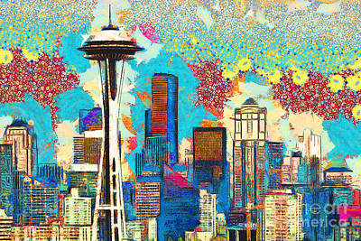 Photograph - Gustav Klimt Does The Seattle Space Needle Skyline 20180511 by Wingsdomain Art and Photography