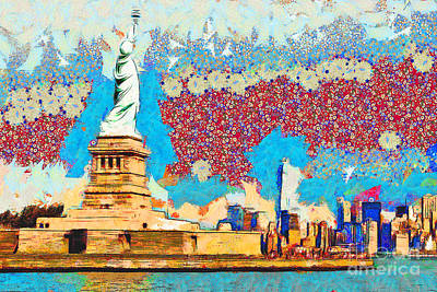 Photograph - Gustav Klimt Does The Statue Of Liberty And The New York Skyline 20180511 by Wingsdomain Art and Photography