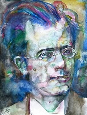 Painting - Gustav Mahler - Watercolor Portrait.4 by Fabrizio Cassetta