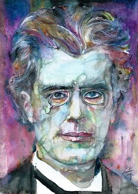 Painting - Gustav Mahler - Watercolor Portrait.5 by Fabrizio Cassetta