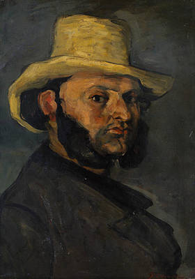 Painting - Gustave Boyer In A Straw Hat by Paul Cezanne