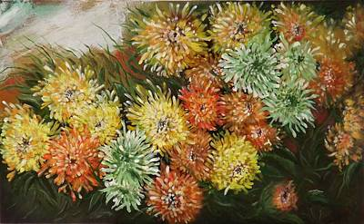 Painting - Gusty Chrysanthemums by Courtney Wilding