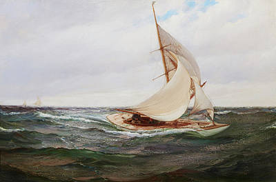 Water Vessels Painting - Gusty Winds by Montague Dawson