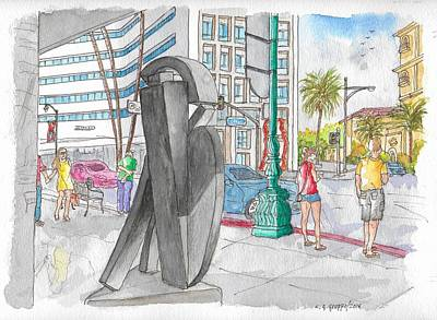 Guy Dill's Sculpture From The Belgian Suite, In Wilshire Blvd., Beverly Hills, California Art Print by Carlos G Groppa