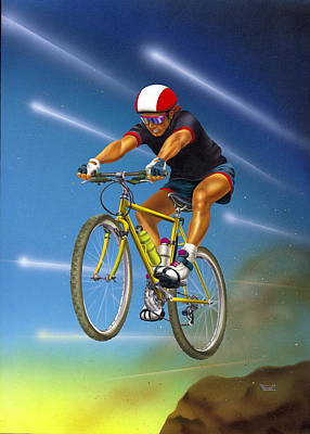 Mountain Biking Drawing - Guy In The Sky by Patrick Hoenderkamp