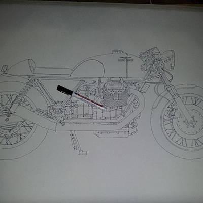Transportation Photograph - Guzzi En Proceso #motorcycle #motogp by Drawspots Illustrations