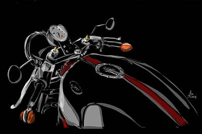 Rod Drawing - Guzzi by Jeremy Lacy