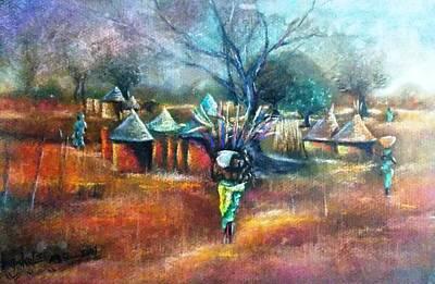 Painting - Gwari Village In Abuja Nigeria by Bankole Abe