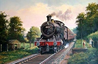 Painting - Gwr 2-6-0 On A Local Passenger Train. by Mike Jeffries