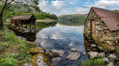Gwynant Lake Boat House Art Print by Adrian Evans