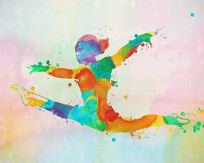 Gymnast Leap Paint Splatter Art Print