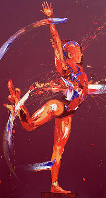 Abstract Movement Painting - Gymnast Nine by Penny Warden