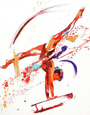 Olympian Painting - Gymnast One by Penny Warden
