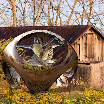 Shed Digital Art - Gymnast Playing On Spacecraft by Clive Littin