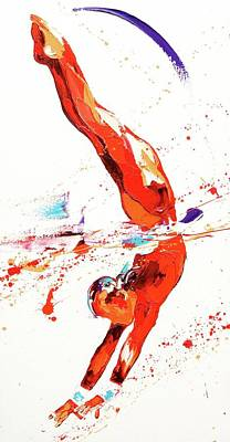 Olympian Painting - Gymnast Three by Penny Warden