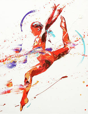 Olympian Painting - Gymnast Two by Penny Warden