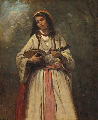 Mandolin Painting - Gypsy Girl With Mandolin by Mountain Dreams