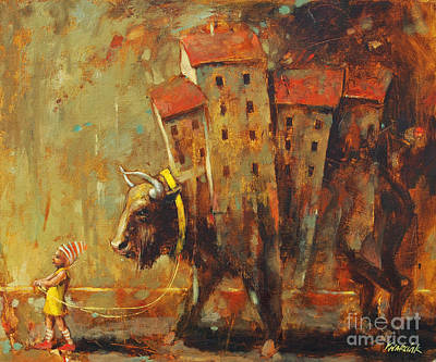 Red School House Painting - Gypsy Life by Michal Kwarciak