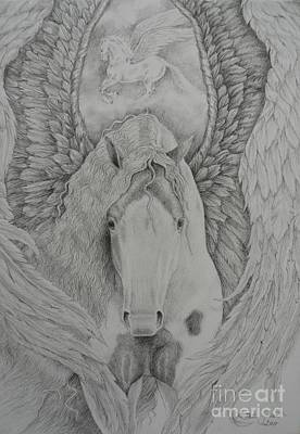 Pinto Drawing - Gypsy Pegasus by Louise Green
