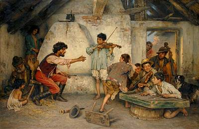 Gypsy Band Painting - Gypsy School by Celestial Images