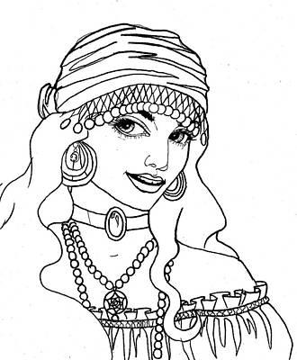 Long Necklace Drawing - Gypsy Sketch by Scarlett Royal