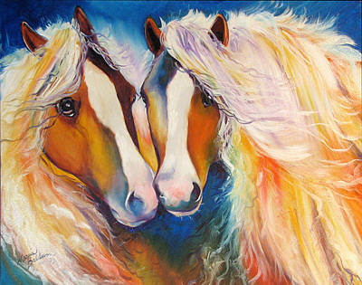 Gypsy Vanner Twins Equine Original Art Print by Marcia Baldwin