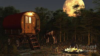 Gypsy Wagon In The Moonlight Print by Fairy Fantasies