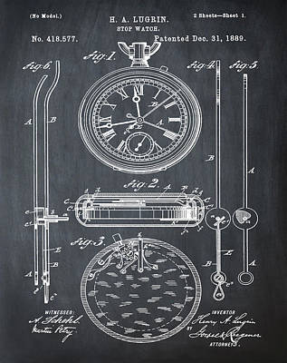 H A Lugrin Stop Watch Patent 1889 In Chalk Art Print by Bill Cannon