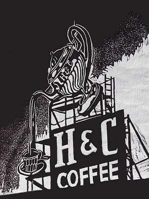 H And C Coffee Sign Original by Suzanne Gaff