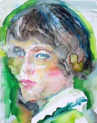 Painting - H. D. - Hilda Doolittle - Watercolor Portrait by Fabrizio Cassetta
