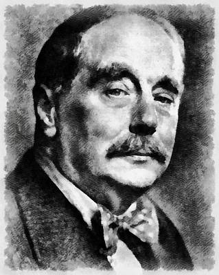 Dracula Painting - H. G. Wells Author by Mary Bassett