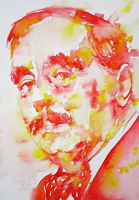 Painting - H. G. Wells - Watercolor Portrait by Fabrizio Cassetta