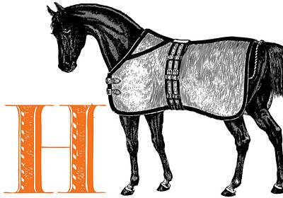 Animal Alphabet Digital Art - H Horse by Thomas Paul