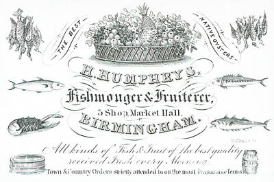Lobster Drawing - H Humphrys, Fishmonger And Fruiterer, Trade Card  by English School