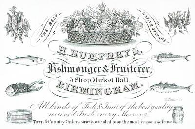 H Humphrys, Fishmonger And Fruiterer, Trade Card  Art Print