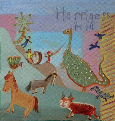 Painting - H Is For Happiness Hill Childhood Quilt Detail by Dawn Senior-Trask