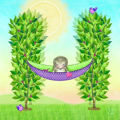 Digital Art - H Is For Hedgehog And Hammock by Valerie Drake Lesiak