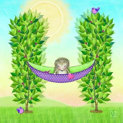 Animal Alphabet Digital Art - H Is For Hedgehog And Hammock by Valerie Drake Lesiak