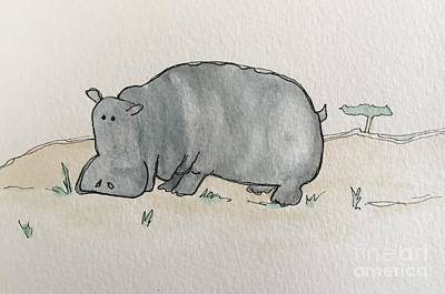 Painting - H Is For Hippopotamus by Tonya Henderson