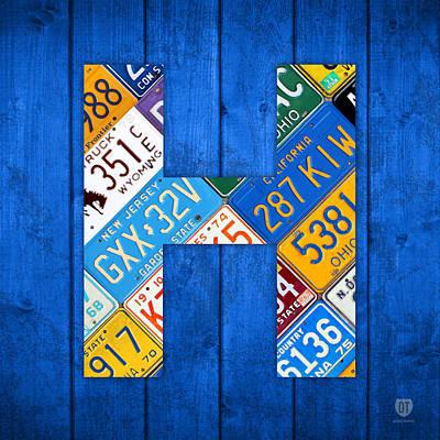Letter Art Mixed Media - H License Plate Letter Art Blue Background by Design Turnpike