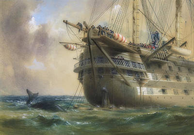 Painting - H M S Agamemnon Laying The Atlantic Telegraph Cable In 1858 by Robert Dudley