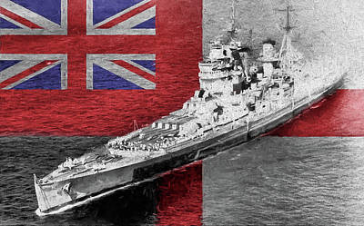 Digital Art - H M S King George V by JC Findley