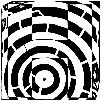 Alphabet Mazes Drawing - H Maze by Yonatan Frimer Maze Artist
