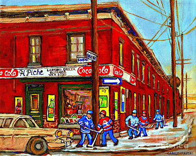 Painting - H Piche Grocer Goose Village Montreal Memories Hockey Art  Vintage Canadian Scene Cspandau           by Carole Spandau