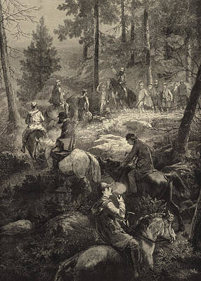 Hunters Drawing - H R H The Prince Of Wales Deer Stalking  by Mihaly von Zichy